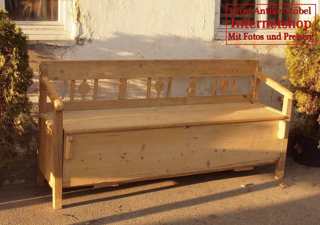 183 cm lange antike restaurierte truhenbank sitzbank holzbank bauernbank bank aus massivholz. Black Bedroom Furniture Sets. Home Design Ideas