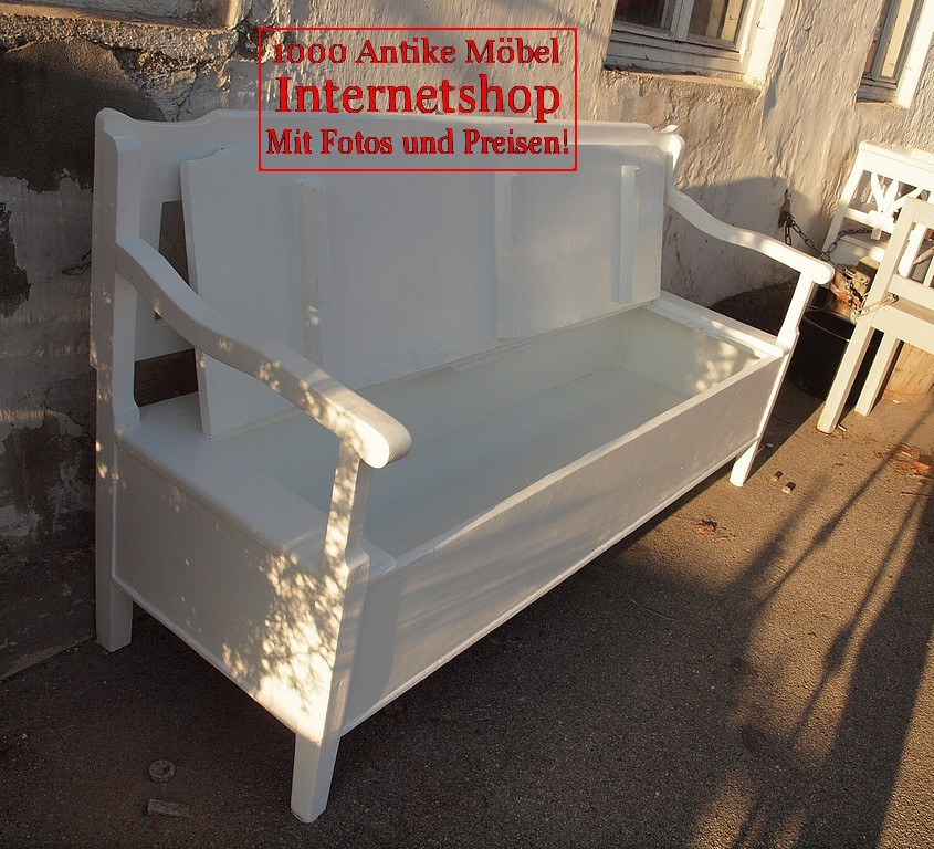 173 cm alte antike wei e shabby chic bank gartenbank. Black Bedroom Furniture Sets. Home Design Ideas