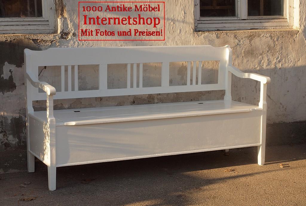 173 cm alte antike wei e shabby chic bank gartenbank truhenbank fichte sitzbank holzbank. Black Bedroom Furniture Sets. Home Design Ideas