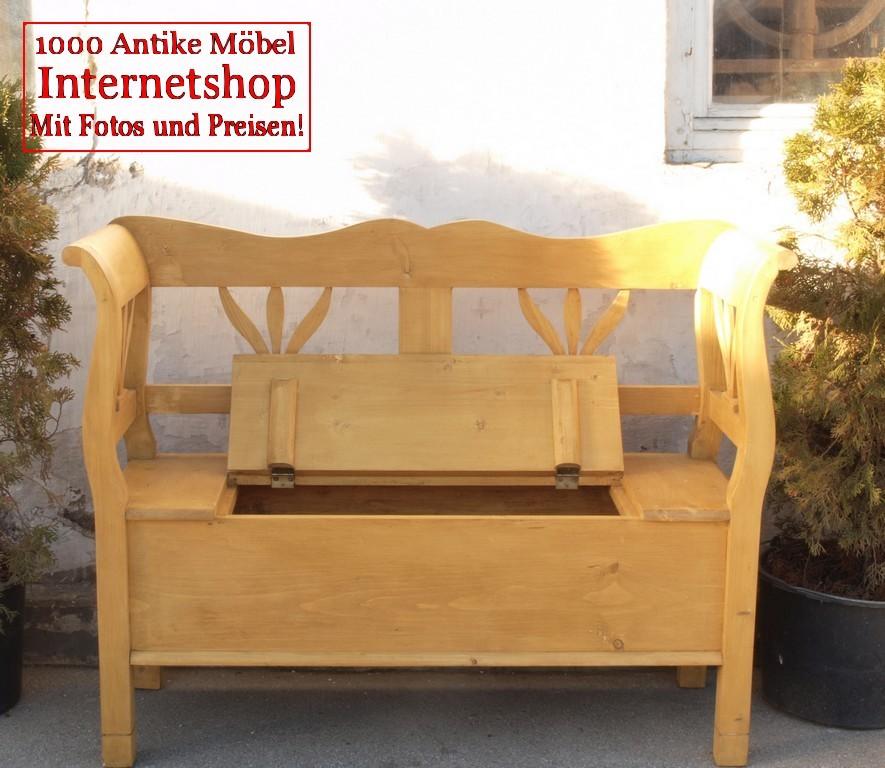 bank b nke 118 cm lange truhenbank weichholz sitzbank holzbank bauernbank bank aus. Black Bedroom Furniture Sets. Home Design Ideas