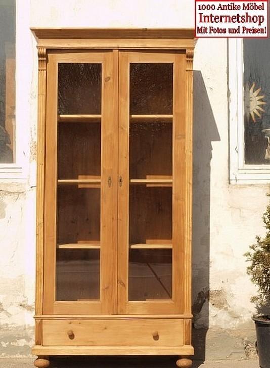 schmale dreiseitig verglaste 2 t rige vitrine mit einer schublade alte antike bauernm bel. Black Bedroom Furniture Sets. Home Design Ideas