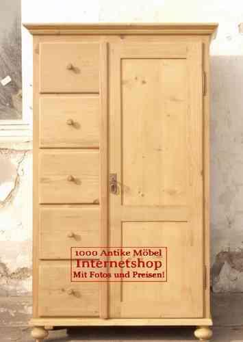 brotschrank aus altem fichtenholz mit 5 schubladen alte antike bauernm bel internetverkauf. Black Bedroom Furniture Sets. Home Design Ideas