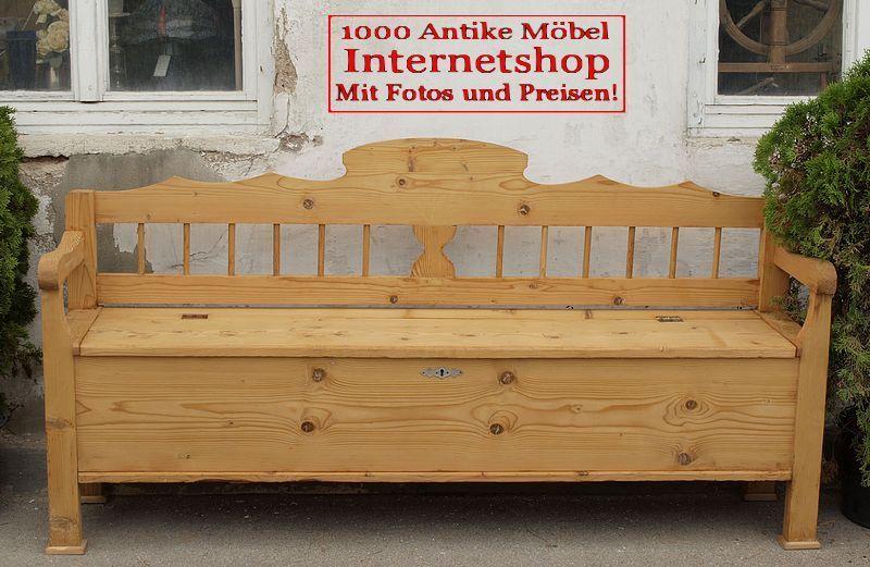alte antike restaurierte truhenbank weicholz sitzbank holzbank bauernbank bank massive fichte. Black Bedroom Furniture Sets. Home Design Ideas