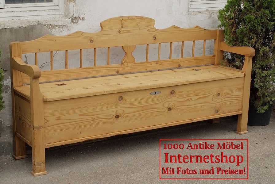 alte antike restaurierte truhenbank weicholz sitzbank. Black Bedroom Furniture Sets. Home Design Ideas
