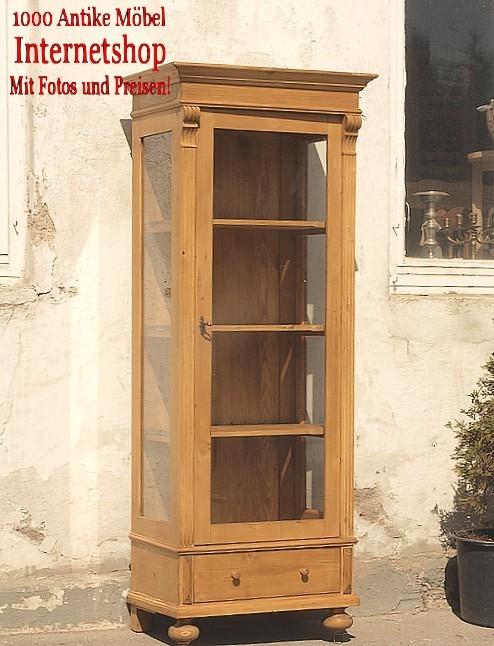 Vitrine vitrinenschrank weichholz fichte 3 seitig verglast for Alte vitrinenschra nke