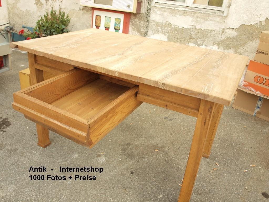 Alter antiker restaurierter esstisch tischplatte aus eiche for Tischplatte massivholz