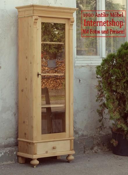 Vitrine vitrinenschrank bauernvitrine massivholzm bel for Alte vitrinenschra nke