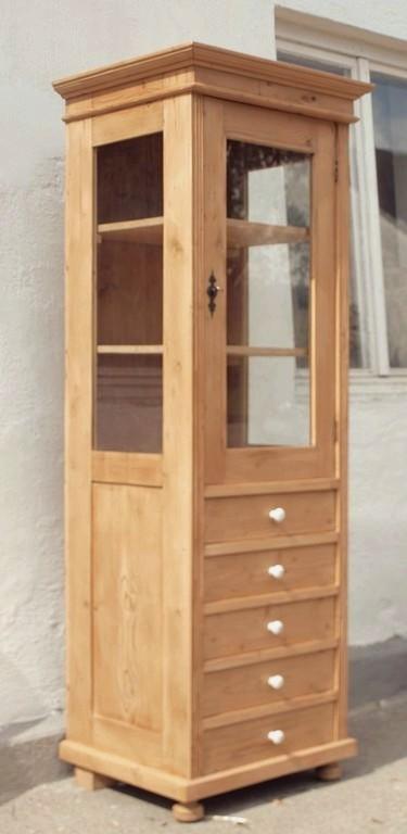 Pvi5s 64 cm lange vitrine massivholz bauernm bel for Alte vitrinenschra nke
