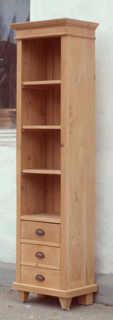 pre3s 48 cm langes bauernregal b cherregal 3 schubladen. Black Bedroom Furniture Sets. Home Design Ideas