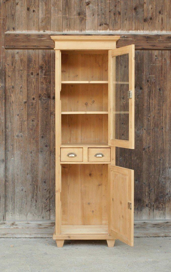 Schmale vitrine gr nderzeitstil fichtenholz bauernm bel nachbau aus altem holz alte antike - Antike landhausmobel ...