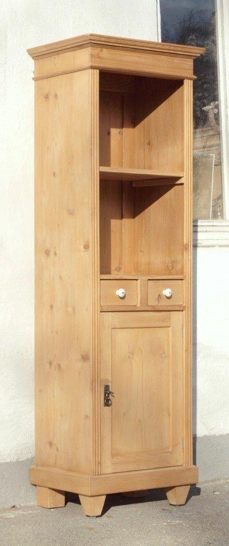pre2s1t 56 cm langes bauernregal b cherregal mit 2 schubladen. Black Bedroom Furniture Sets. Home Design Ideas